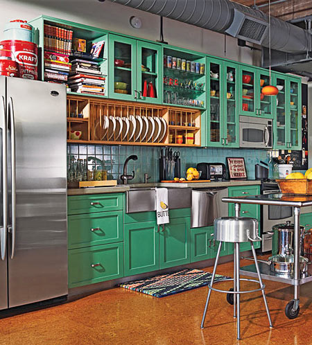 25 Best Images About On Pinterest Green Cabinets Fresh Green And Green Kitchen Cork Flooring In A Kitchen
